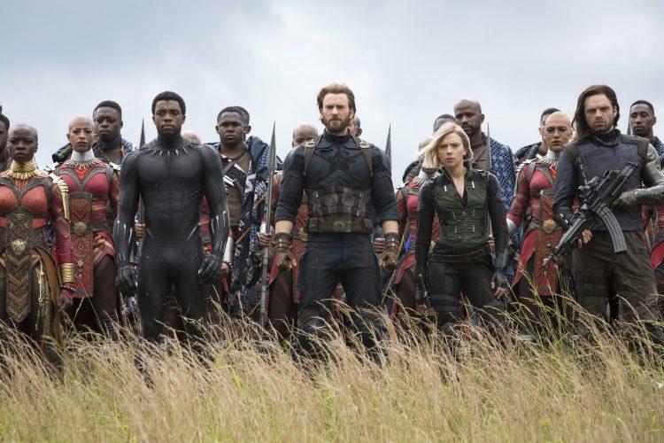 Okoye, Black Panther, Captain America, Black Widow, and Winter Soldier in Wakanda