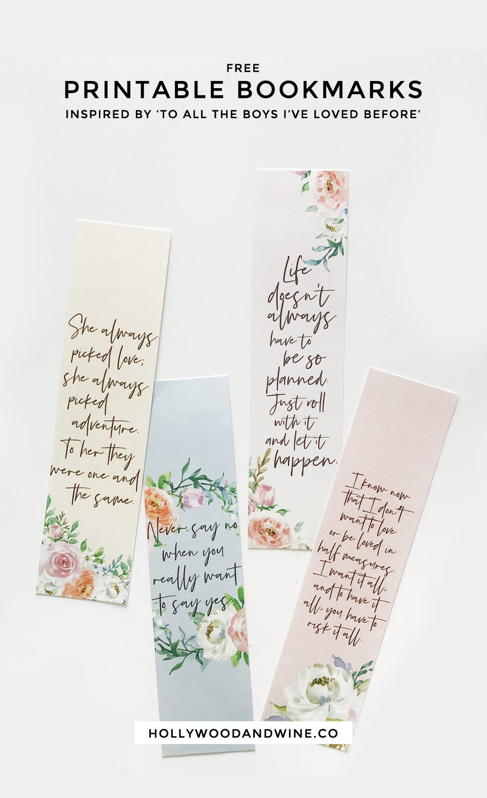 Free printable bookmarks inspired by To All The Boys I've Loved Before Book and soon to be Netflix movie! #TATBILB