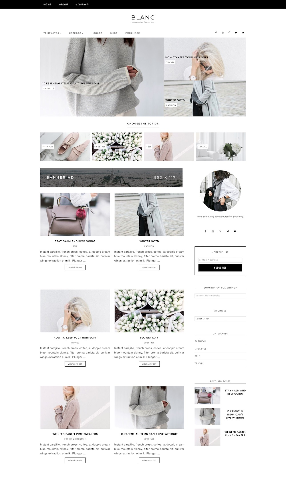 Blanc WordPress theme | The best WordPress themes for bloggers
