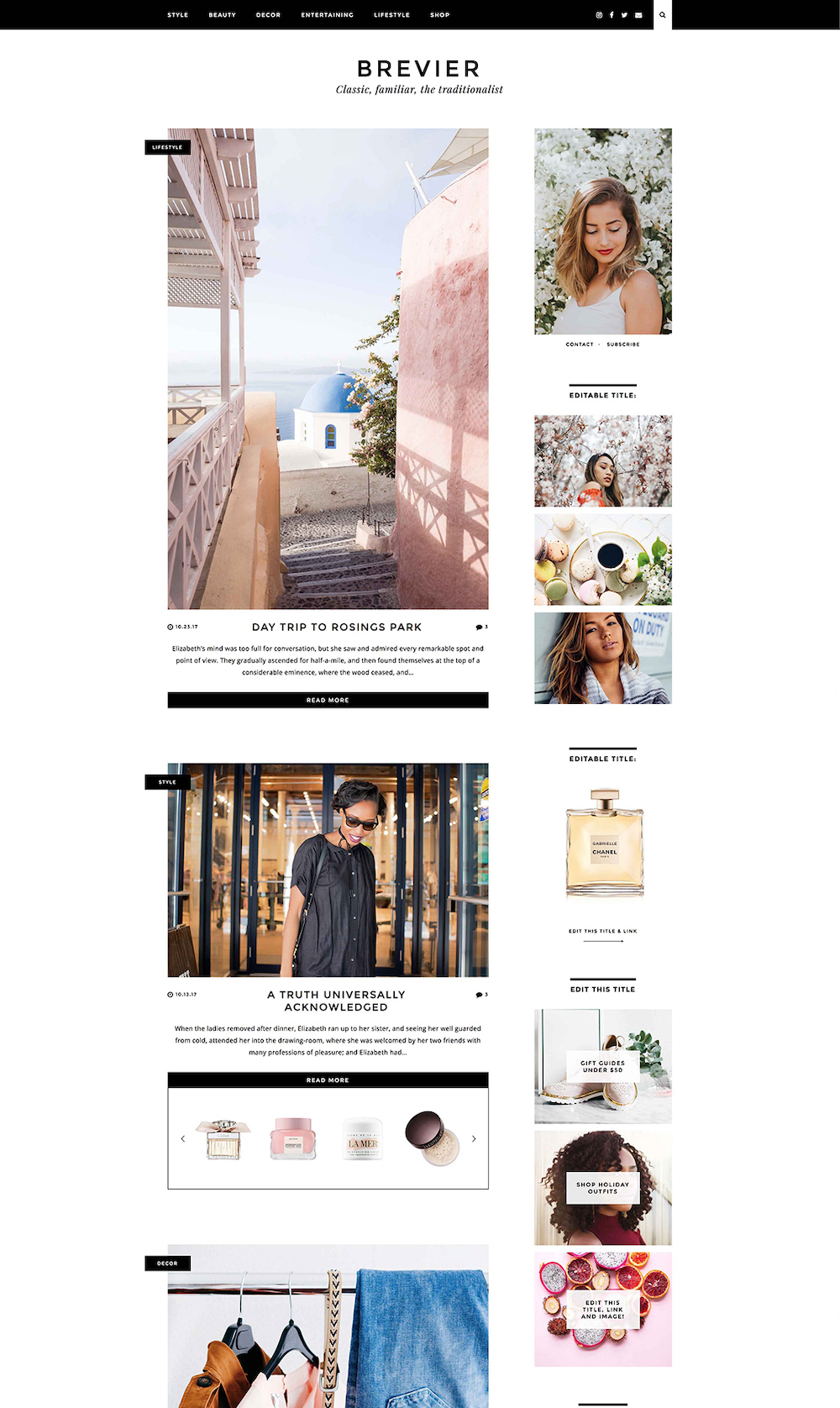 Brevier WordPress theme | WordPress themes for lifestyle bloggers