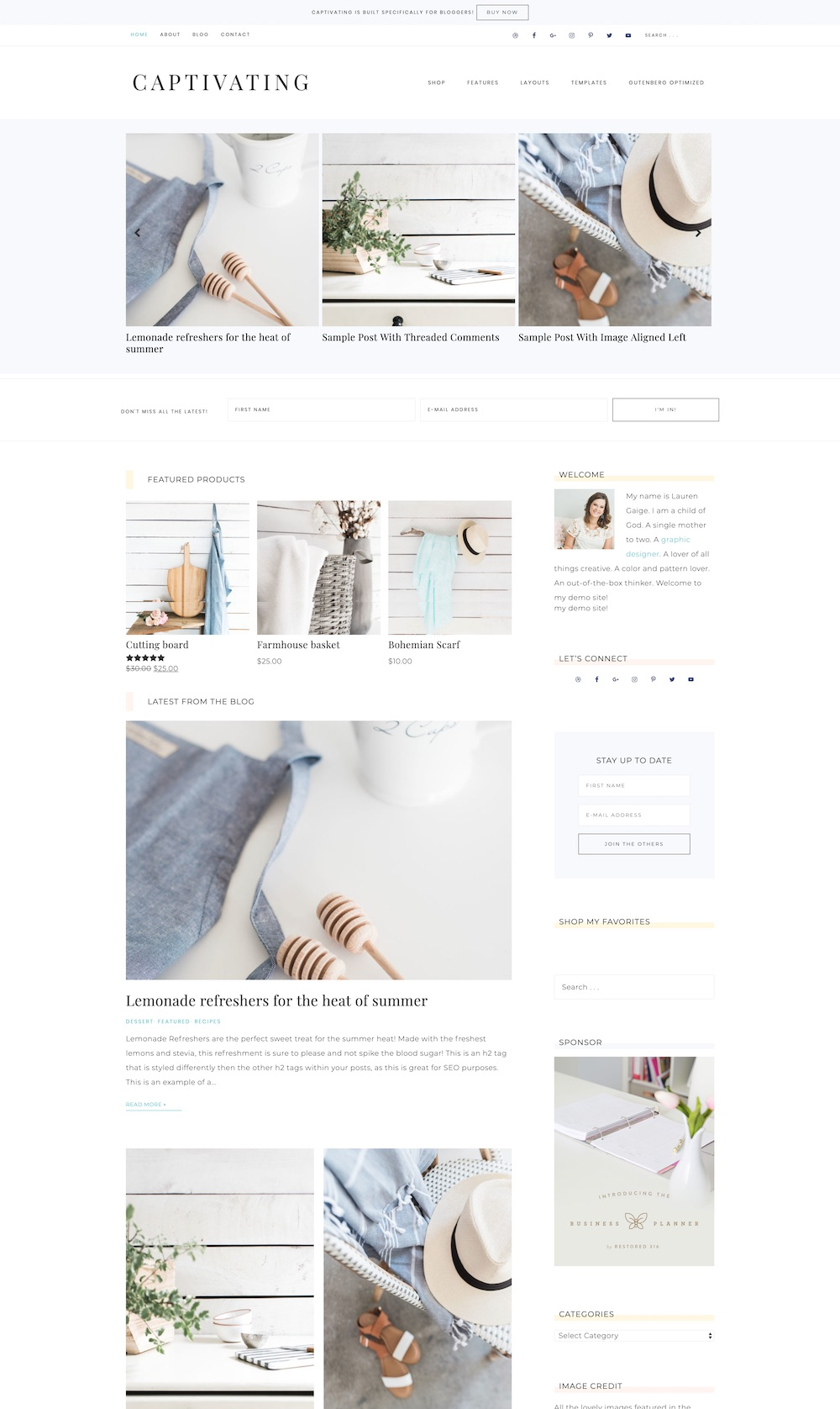 Captivating WordPress theme | Clean, magazine-style WordPress theme